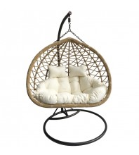 Natural rattan with cream cushion 2-seater outdoor swing